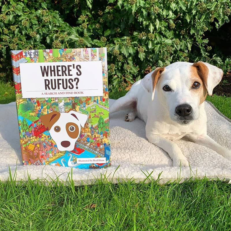 Rufus with his Personalized Where's Book