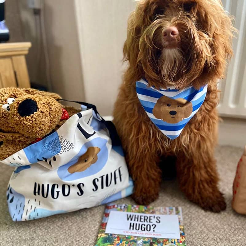 Hugo with his Personalized Bag, Book and Bandana