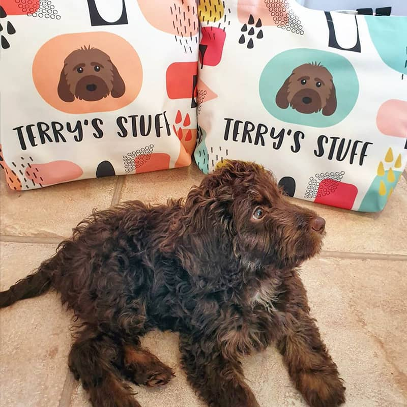 Terry with his Personalized Bags